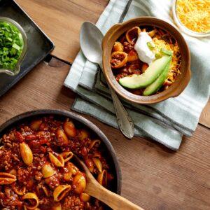 Cheesy CHili Pasta BowlsWILLIAMS0811