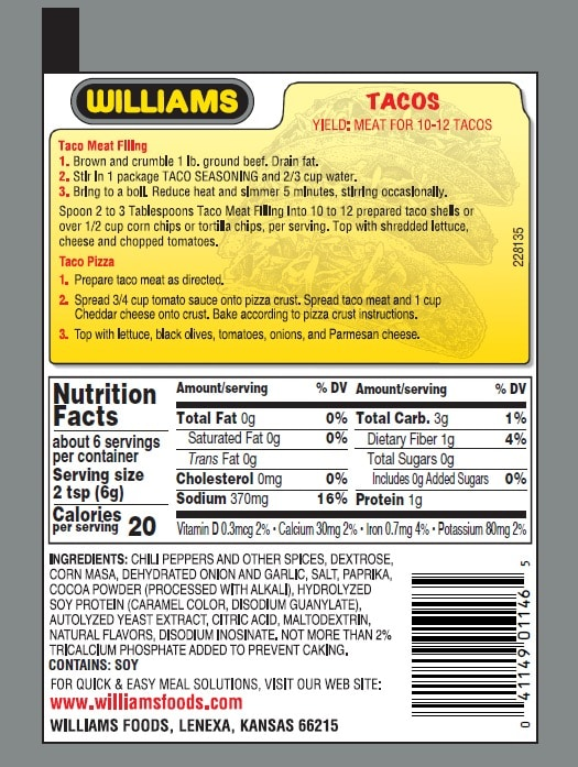Williams Tex Mex Taco-Back Panel300